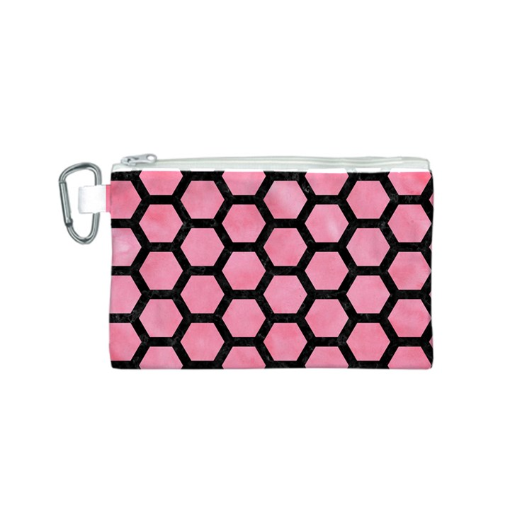 HEXAGON2 BLACK MARBLE & PINK WATERCOLOR Canvas Cosmetic Bag (S)