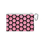 HEXAGON2 BLACK MARBLE & PINK WATERCOLOR Canvas Cosmetic Bag (S) Back