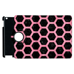 Hexagon2 Black Marble & Pink Watercolor (r) Apple Ipad 2 Flip 360 Case