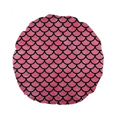 Scales1 Black Marble & Pink Watercolor Standard 15  Premium Flano Round Cushions