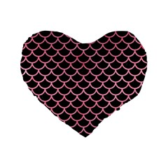 Scales1 Black Marble & Pink Watercolor (r) Standard 16  Premium Flano Heart Shape Cushions
