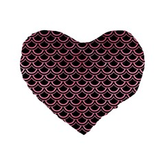 Scales2 Black Marble & Pink Watercolor (r) Standard 16  Premium Flano Heart Shape Cushions