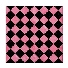 Square2 Black Marble & Pink Watercolor Face Towel