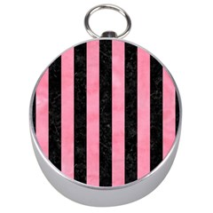 Stripes1 Black Marble & Pink Watercolor Silver Compasses