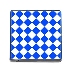 Blue White Diamonds Seamless Memory Card Reader (square)