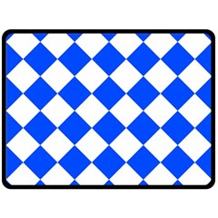 Blue White Diamonds Seamless Double Sided Fleece Blanket (large)