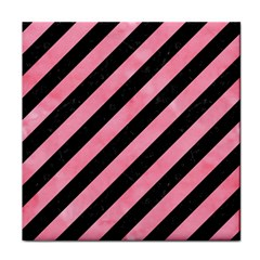 Stripes3 Black Marble & Pink Watercolor (r) Face Towel