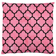 Tile1 Black Marble & Pink Watercolor Large Flano Cushion Case (one Side)