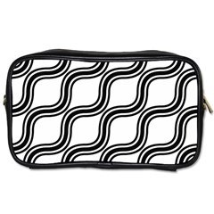 Diagonal Pattern Background Black And White Toiletries Bags 2 Side