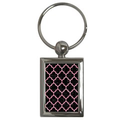 Tile1 Black Marble & Pink Watercolor (r) Key Chains (rectangle)