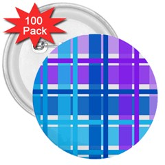Gingham Pattern Blue Purple Shades 3  Buttons (100 Pack)