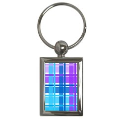 Gingham Pattern Blue Purple Shades Key Chains (rectangle)