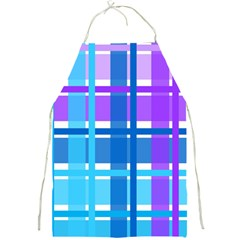 Gingham Pattern Blue Purple Shades Full Print Aprons