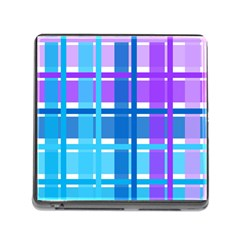 Gingham Pattern Blue Purple Shades Memory Card Reader (square)