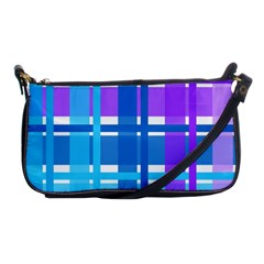 Gingham Pattern Blue Purple Shades Shoulder Clutch Bags
