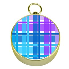 Gingham Pattern Blue Purple Shades Gold Compasses