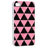 TRIANGLE3 BLACK MARBLE & PINK WATERCOLOR Apple iPhone 4/4s Seamless Case (White) Front