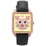Luck Lucky Pig Pig Lucky Charm Rose Gold Leather Watch  Front