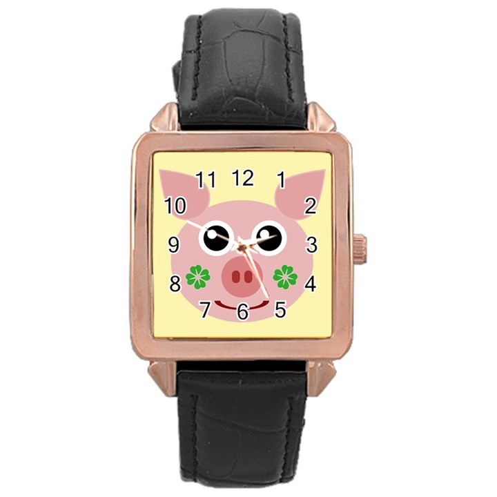Luck Lucky Pig Pig Lucky Charm Rose Gold Leather Watch