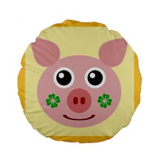Luck Lucky Pig Pig Lucky Charm Standard 15  Premium Flano Round Cushions