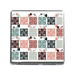 Mint Black Coral Heart Paisley Memory Card Reader (square)