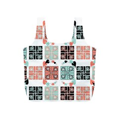 Mint Black Coral Heart Paisley Full Print Recycle Bags (s)