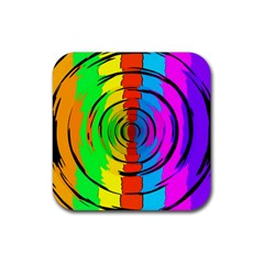 Pattern Colorful Glass Distortion Rubber Square Coaster (4 Pack)