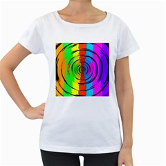 Pattern Colorful Glass Distortion Women s Loose Fit T Shirt (white)