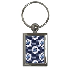 Shabby Chic Navy Blue Key Chains (rectangle)