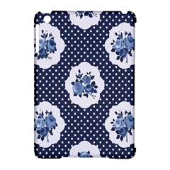 Shabby Chic Navy Blue Apple Ipad Mini Hardshell Case (compatible With Smart Cover)