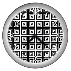 Seamless Pattern Background Black And White Wall Clocks (silver)