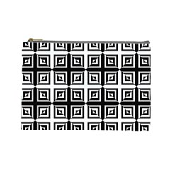 Seamless Pattern Background Black And White Cosmetic Bag (large)