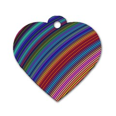 Multicolored Stripe Curve Striped Dog Tag Heart (two Sides)