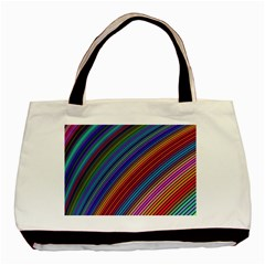 Multicolored Stripe Curve Striped Basic Tote Bag (two Sides)