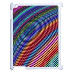 Multicolored Stripe Curve Striped Apple Ipad 2 Case (white)
