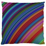 Multicolored Stripe Curve Striped Large Flano Cushion Case (One Side) Front
