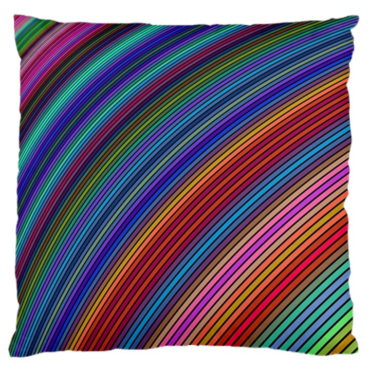 Multicolored Stripe Curve Striped Large Flano Cushion Case (One Side)