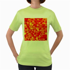 Triangle Tile Mosaic Pattern Women s Green T Shirt