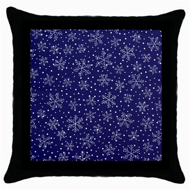 Snowflakes Pattern Throw Pillow Case (Black)