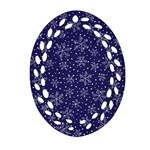 Snowflakes Pattern Oval Filigree Ornament (Two Sides) Back