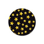 Yellow Stars Pattern Rubber Round Coaster (4 pack)  Front