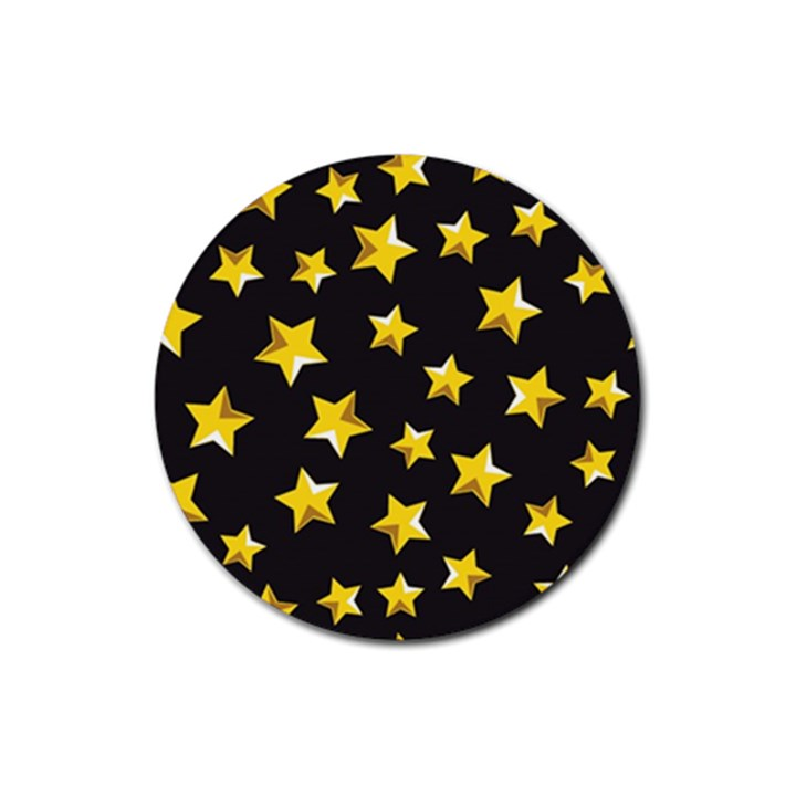 Yellow Stars Pattern Rubber Round Coaster (4 pack)