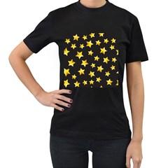 Yellow Stars Pattern Women s T Shirt (black) (two Sided)