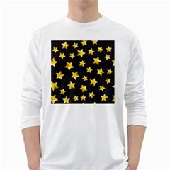 Yellow Stars Pattern White Long Sleeve T Shirts