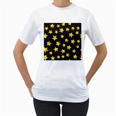 Yellow Stars Pattern Women s T Shirt (white)