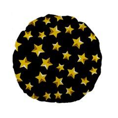 Yellow Stars Pattern Standard 15  Premium Flano Round Cushions