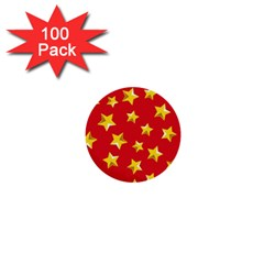 Yellow Stars Red Background Pattern 1  Mini Buttons (100 Pack)