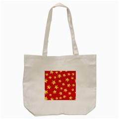 Yellow Stars Red Background Pattern Tote Bag (cream)