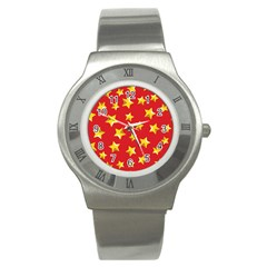 Yellow Stars Red Background Pattern Stainless Steel Watch