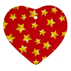 Yellow Stars Red Background Pattern Heart Ornament (two Sides)